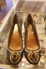 Valerie Stevens blue and gold glittery pumps size 8 M