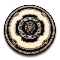 Teppich mit Versace Muster Rund Schwarz 200x200 Seidig Mäander Medusa Carpet Rug