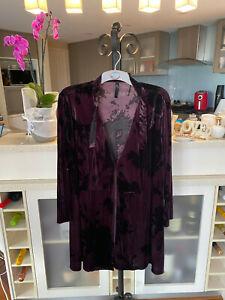 TS14+ Plus Taking Shape Purple Black Velvet crush Kimono Cover Up Jacket Size M