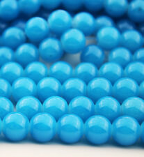 32pcs 8mm Round Glass Crystal Pearl Loose Spacer Beads sea blue