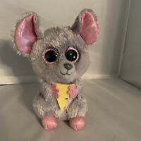 "TY Squeaker Mouse Beanie Boo Plush Stuffed Animal 2015 7"" Tall Glitter Pink Eyes"