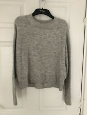 H&M GREY CROPPED OVERSIZED KNIT JUMPER SIZE XS 8/10