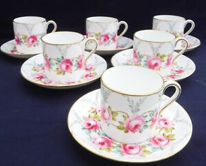 Superb Hammersley Coffee Set, HP Garland of Roses Signed Millington, Paragon int