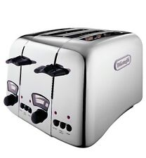 Delonghi CTO4.C Retro Style Stainless Steel 4 Slice Bread Toaster (Chrome)
