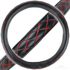 Premium PU Leather Steering Wheel Cover - Black w/ Red Stitch Diamond Quilted