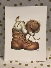 Vintage Ruth Morehead Greeting Note Card Puppy Dog Boot Unused + Envelope