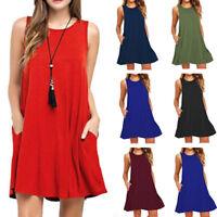 Hot Summer Womens Sleeveless Tunic Top T Shirt Blouse Vest Dress Plus Size S-2XL