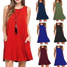 Summer Women Sleeveless Tunic Top T Shirt Long Blouse Vest Dress Loose Beach SH