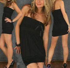 SeXy Miss Damen Bandeau Girly Mini Kleid Trend Long Top Schleifchen XS-S schwarz