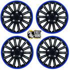 """Lightning Black & Blue 14"""" Wheel Cover Hub Caps Set Ideal For Rover Tourer"""