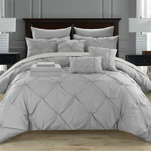 10 Piece Mycroft Pinch Pleated Bed In a Bag Comforter Set sheets Pillows Silver
