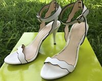 Jessica Simpson Morena Leather Dorsey Scalloped Heels Sandals Shoes White sz 7