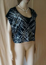 WOMENS ROCK & REPUBLIC OVERSIZED STUDDED BLACK & WHITE SLEEVELESS TOP SIZE SMALL