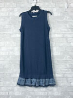 NWT Blu Clover Women's Dress Soft Cotton Navy Blue Ruffle Bottom Size M