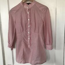 f69c8d6396 Sisley Women s Red Striped Three Quarter Sleeve Cotton Tunic Shirt Size S