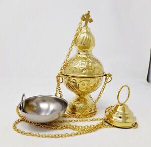 High Polished Brass Hanging Incense Burner Censer for Church, 8 Inch