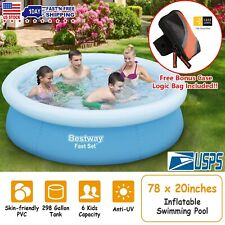 78''x20'' Inflatable Swimming Pool + Free Case Logic Bag Above Ground Kids Water
