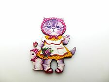 Colorido Kawaii Kitty Cat & Bird amigo de madera Broche Pin Cat Girl arte alterado