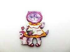 Colorido Kawaii Kitty Cat & Bird amigo de madera Broche Pin Cat Girl arte alterado