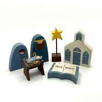 Wood Christmas Nativity Shelf Sitters Hand Painted Rustic 6 Pc Set