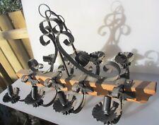 Vintage Wood & Wrought Iron Ceiling Light Chandelier Bavarian Gothic Design Old
