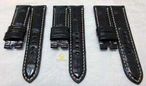 Handmade BLACK genuine croco leather strap oval 24mm fits Panerai, PAM