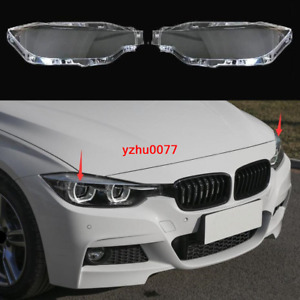 2016-2018 For BMW 3 Series F30 F35 Headlight Headlamp Lens Cover Right&Left 2pcs