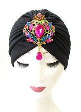 Black Pink Rhinestone Diamante Turban Headpiece 1920s Flapper Vtg Cloche 1163
