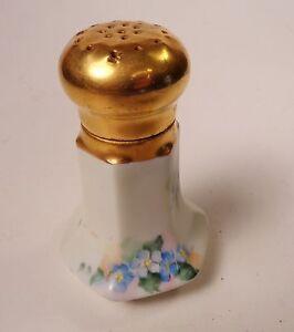 Limoges Gold Top Salt Shaker Blue Flowers