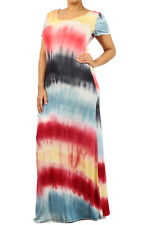 Plus Tie Dye Multi-Color Striped Maxi Dress Summer Long Rayon Jersey