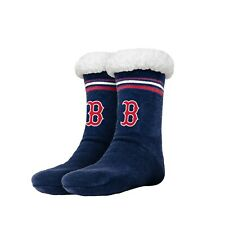 Boston Red Sox Women's Stripe Logo Tall Footy Slippers - Size 6-10 NEW! Non Skid