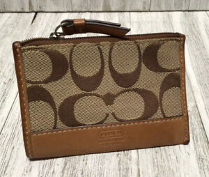 Coach Signature Skinny Mini Jacquard Leather ID Case Coin Purse Wallet Keychain