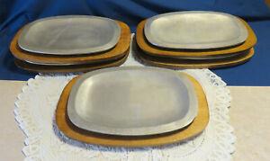 Aluminum STEAK / FAJITA Sizzle Platter Plate w/ Wood Tray *NICE*