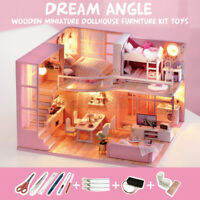 ❤️ DIY Dollhouse Miniature Kit Dream Angel Wood Wooden Furniture Toy Doll  d e