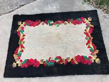 VINTAGE BLACK & TAN HAND HOOKED RUG WITH RED & GREEN FALL LEAVES & BROWN ACORNS