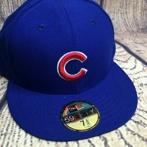 New Era MLB Mens 7 3/4  Blue Chicago Cubs Authentic Collection 59FIFTY Fittted