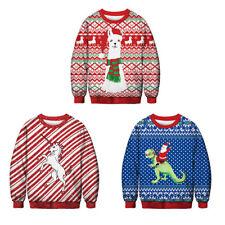 Womens Mens Ugly Christmas Sweater Xmas Jumper Sweatshirt T-shirt Tops Pullover