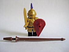 Lego Custom JOUSTING KNIGHT with Custom GOLD Armor & Weapons -Castle LOTR