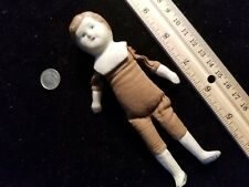 """Antique Bisque Cloth body Doll ~ Unmarked 5-3/4"""" Tall"""