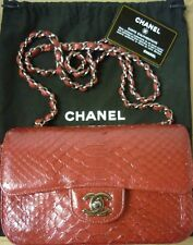 Authentic Rare CHANEL 2.55 Mini Flap Python Red 233236011 COA Authenticate4U