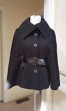 NWT Spiegel Black Button Front Wool Blend Cape with Belt, 4