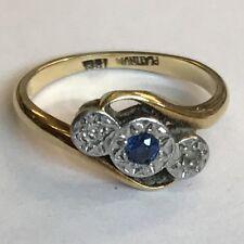 Antique Solid 18ct Gold Five 3 Stone Diamond & Sapphire Twist Ring Size L1/2