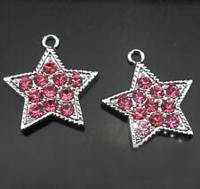 10PCs Pink rhinestone Star Hang Pendant Charms Fit DIY Phone Strips Colla Belts