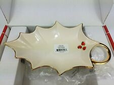 "New ListingLenox Holly Leaf Porcelain Candy Dish 9.25"" Holiday Design Red Berry Gold Nib"