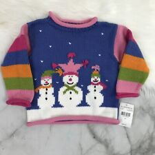 Mulberribush For Kids Knitted Snowman Mock Neck 100% Cotton Sweater Size: 18 Mo