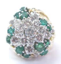 18Kt Gem Green Emerald Diamond Cluster Yellow Gold Jewelry Ring 2.44Ct