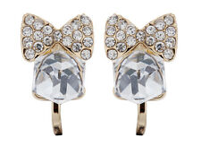 CLIP ON EARRINGS - gold bow stud earring with clear crystals and stone - Maisy