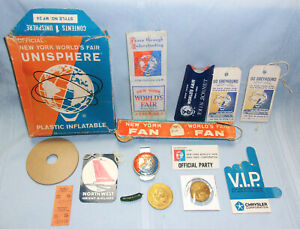 15 PC. 1964-65 NEW YORK WORLD'S FAIR LOT-OFFICIAL BADGE, FAN, DINO COIN, TICKET+