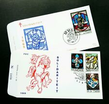 Belgium Stained Glass Window 1969 Art Culture (FDC pair)