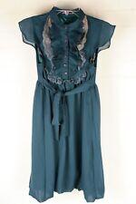 Mina Verde Teal botón frontal Volante Vestido talla S/M